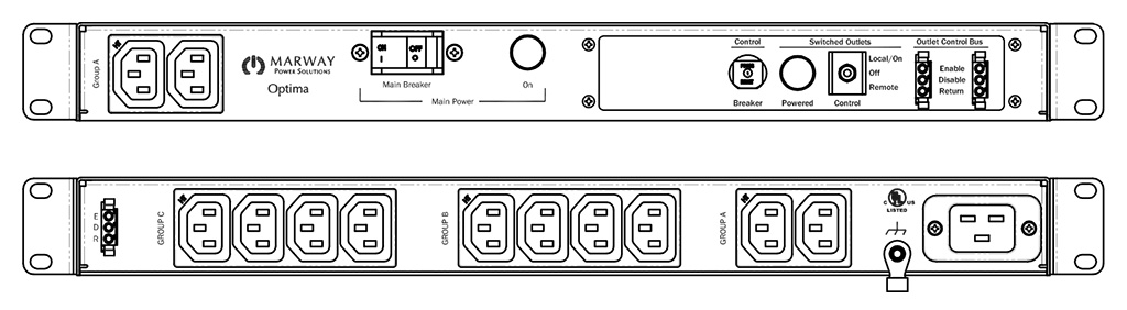 Product layout of front and back panels for Marway's MPD-520050-000 Optima PDU.