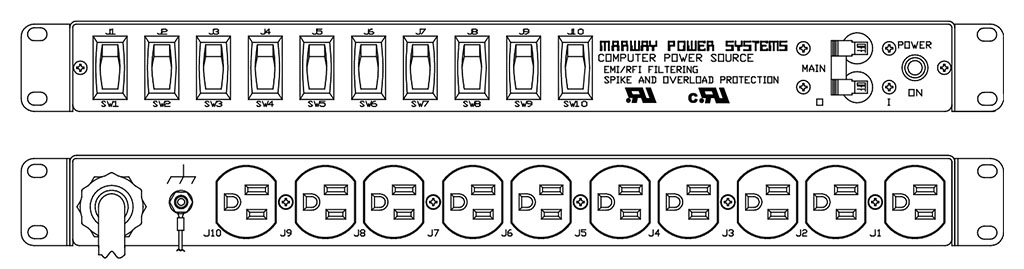 Product layout of front and back panels for Marway's MPD-85-002 Optima PDU.