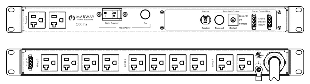Product layout of front and back panels for Marway's MPD-520077-000 Optima PDU.