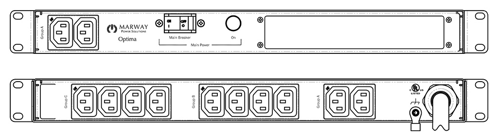 Product layout of front and back panels for Marway's MPD-520040-000 Optima PDU.