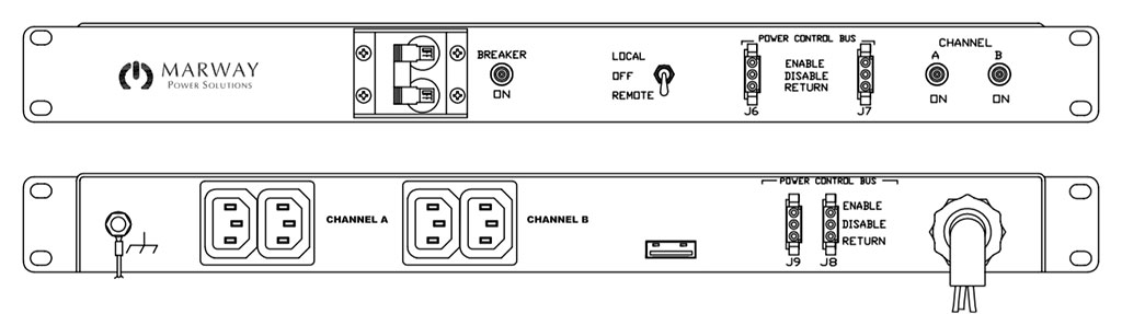 Product layout of front and back panels for Marway's MPD-200R-020 Optima PDU.