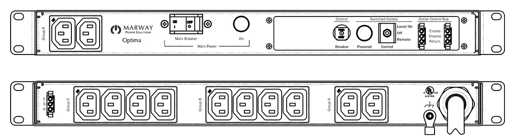 Product layout of front and back panels for Marway's MPD-520090-000 Optima PDU.
