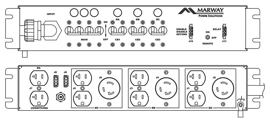 Product layout of front and back panels for Marway's MPD-125-042 Optima PDU.