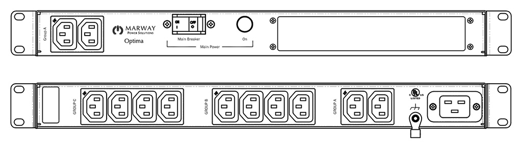 Product layout of front and back panels for Marway's MPD-520052-000 Optima PDU.