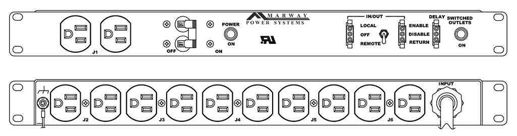 Product layout of front and back panels for Marway's MPD-100R-012 Optima PDU.