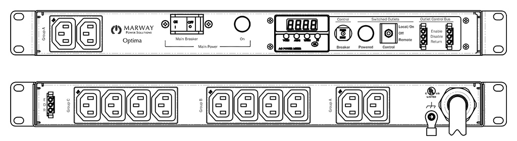 Product layout of front and back panels for Marway's MPD-520045-000 Optima PDU.