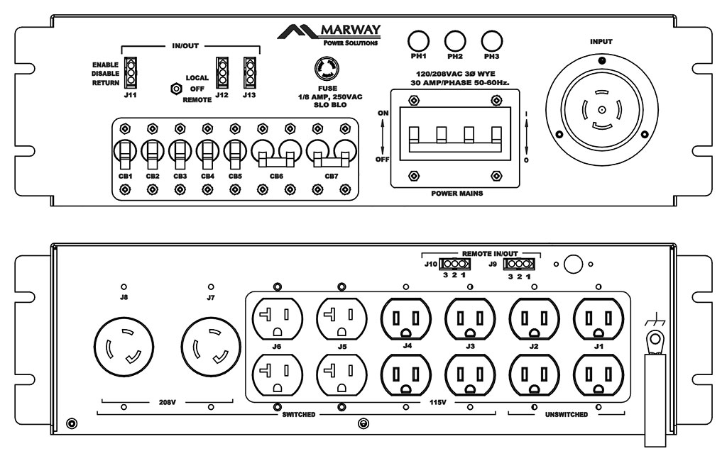 Product layout of front and back panels for Marway's MPD-208A-162 Optima PDU.