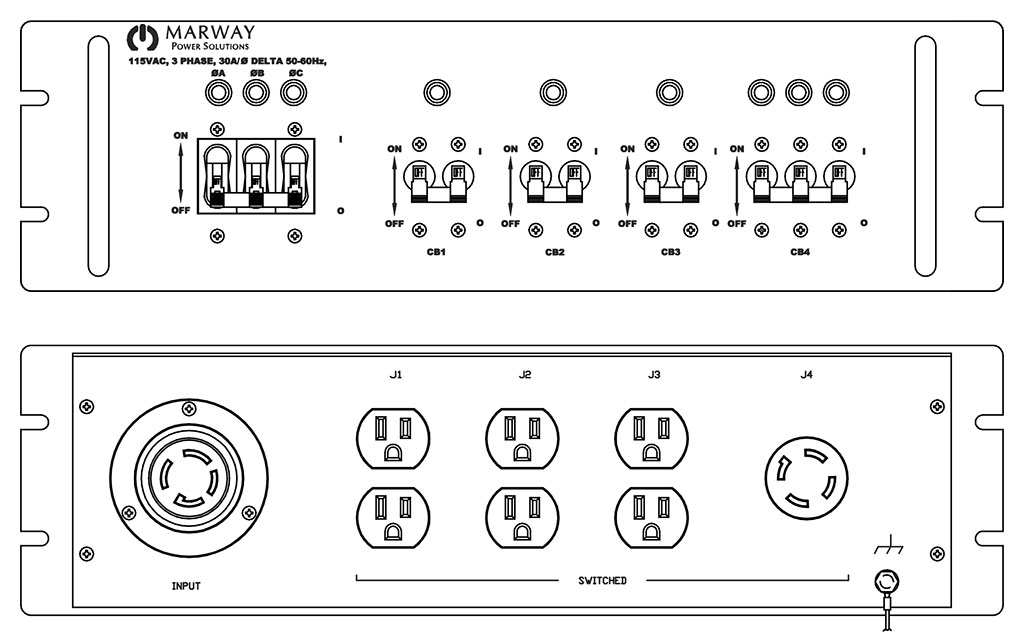 Product layout of front and back panels for Marway's MPD-411190-001 Optima PDU.