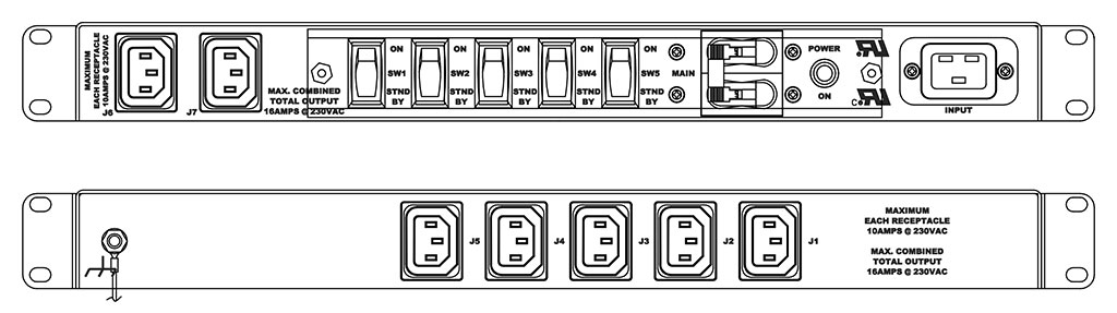 Product layout of front and back panels for Marway's MPD-411355-002 Optima PDU.