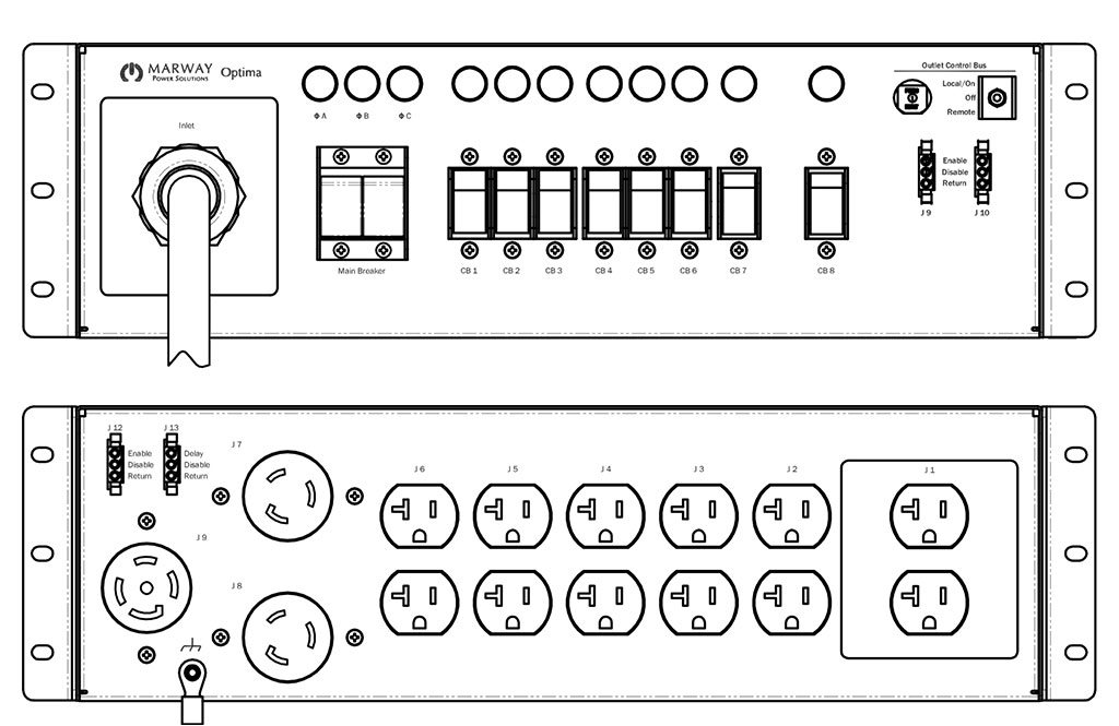 Product layout of front and back panels for Marway's MPD-533001-000 Optima PDU.
