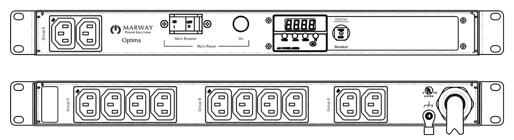 Product layout of front and back panels for Marway's MPD-520094-000 Optima PDU.