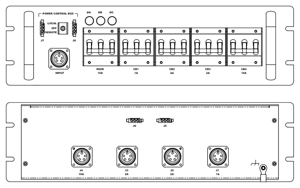 Product layout of front and back panels for Marway's MPD-41621-181 Optima PDU.
