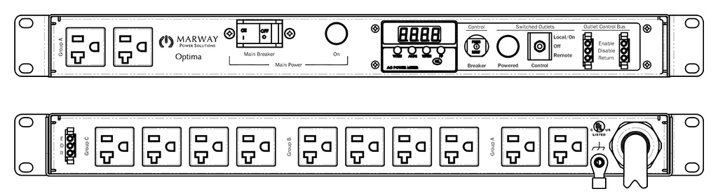 Product layout of front and back panels for Marway's MPD-520036-000 Optima PDU.
