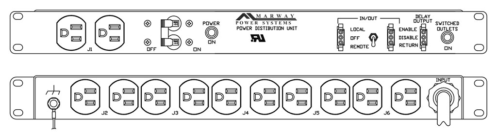 Product layout of front and back panels for Marway's MPD-100R-013 Optima PDU.