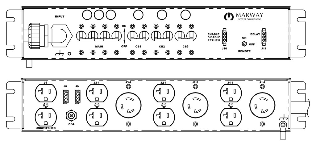 Product layout of front and back panels for Marway's MPD-125-052 Optima PDU.