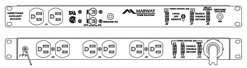 Product layout of front and back panels for Marway's MPD-100R-002 Optima PDU.