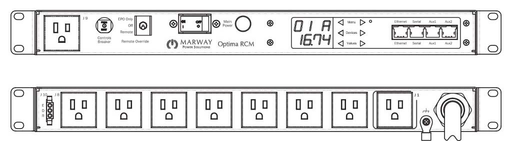 Product layout of front and back panels for Marway's MPD-820101-PSW-000 Optima PDU.