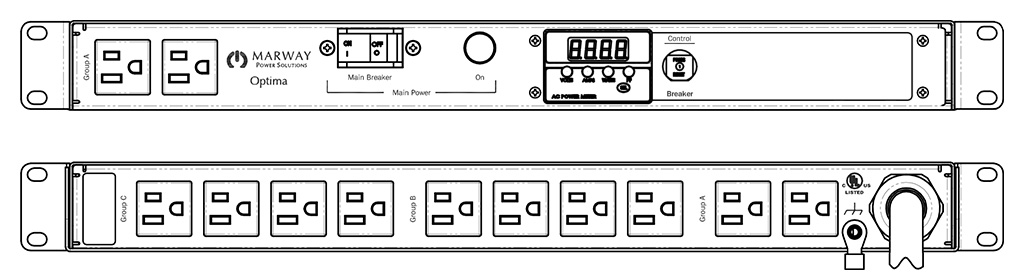 Product layout of front and back panels for Marway's MPD-520070-000 Optima PDU.