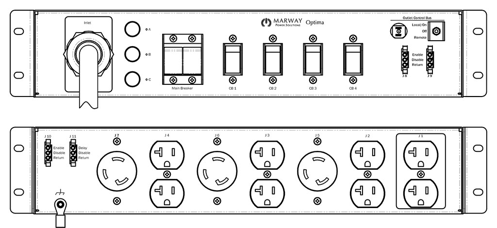 Product layout of front and back panels for Marway's MPD-532001-000 Optima PDU.