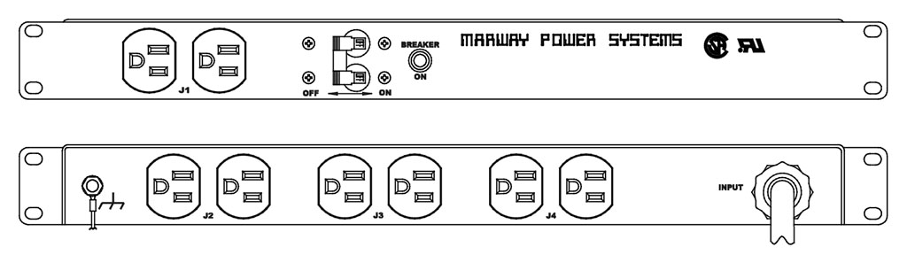 Product layout of front and back panels for Marway's MPD-100-003 Optima PDU.