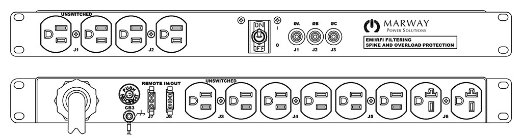 Product layout of front and back panels for Marway's MPD-103R-011 Optima PDU.