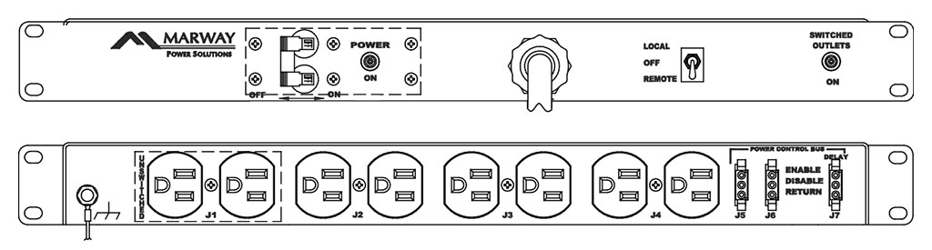 Product layout of front and back panels for Marway's MPD-100R-109 Optima PDU.