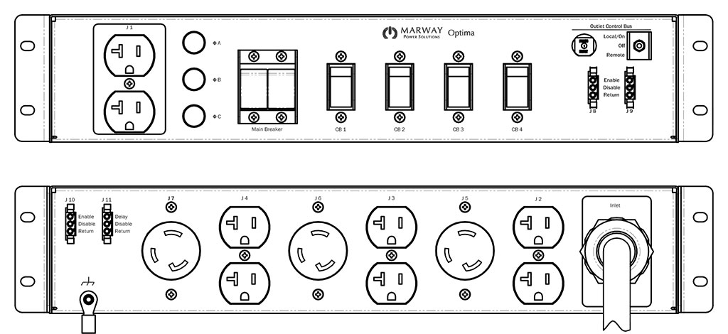 Product layout of front and back panels for Marway's MPD-532021-000 Optima PDU.