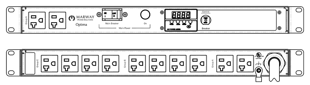 Product layout of front and back panels for Marway's MPD-520031-000 Optima PDU.