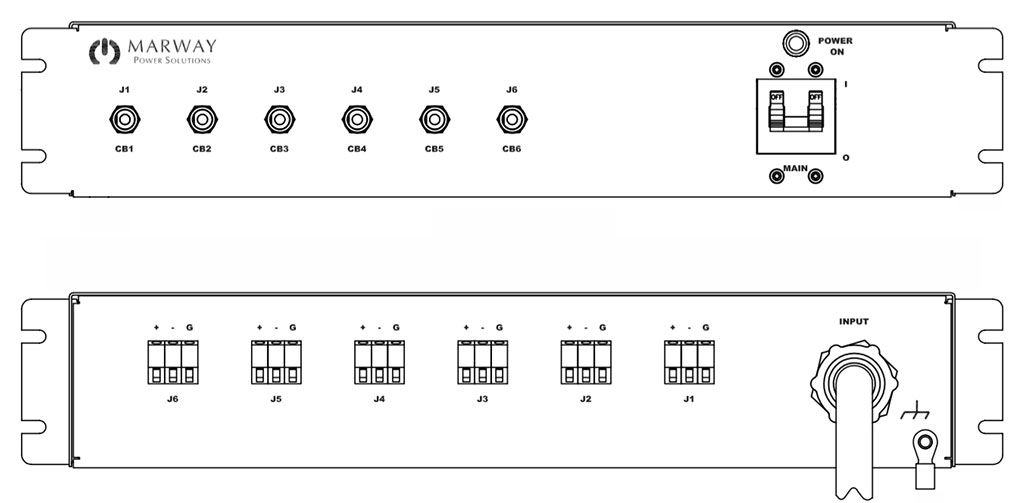 Product layout of front and back panels for Marway's MPD-41620-194 Optima PDU.