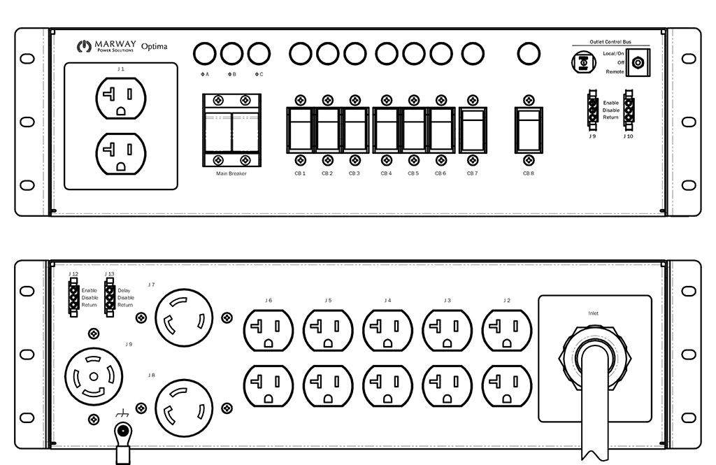 Product layout of front and back panels for Marway's MPD-533014-000 Optima PDU.