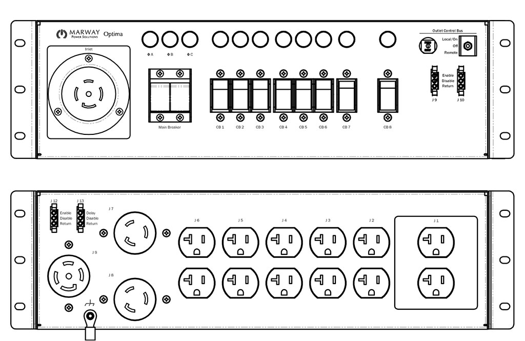 Product layout of front and back panels for Marway's MPD-533006-000 Optima PDU.
