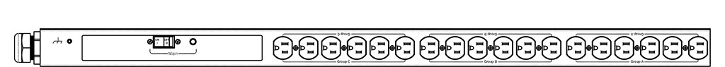 Product layout of front and back panels for Marway's MPD-529013-000 Optima PDU.