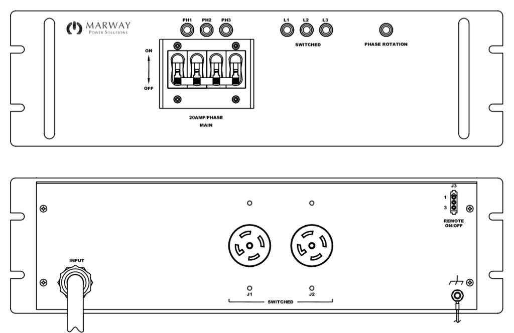 Product layout of front and back panels for Marway's MPD-41615-016 Optima PDU.