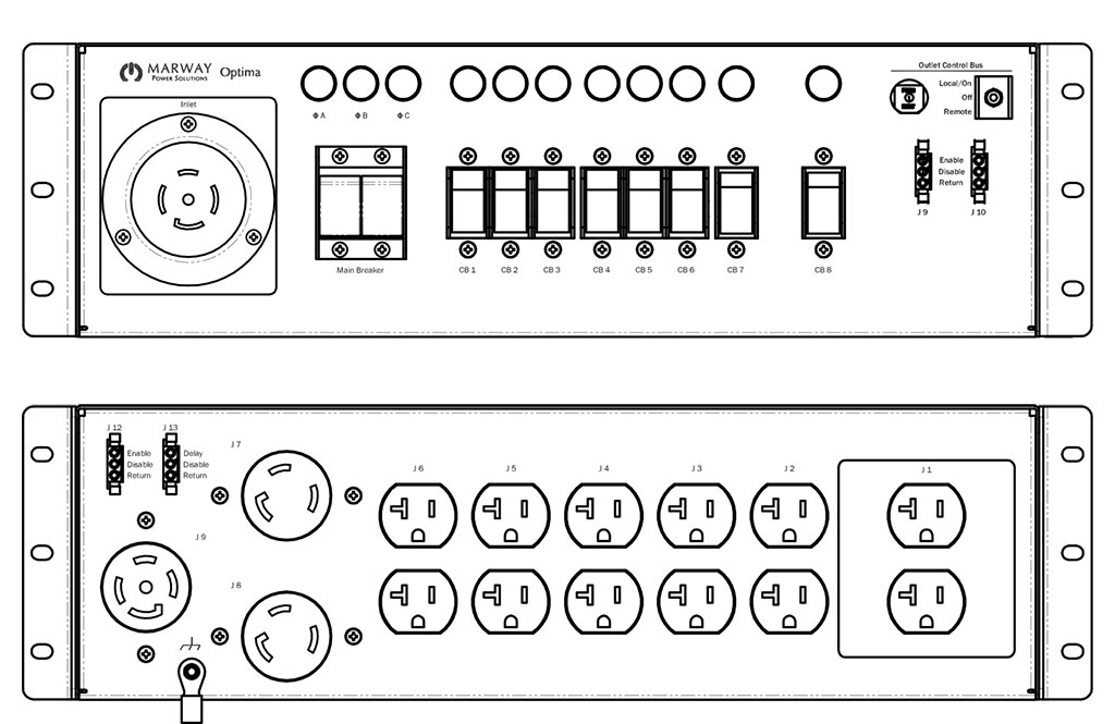 Product layout of front and back panels for Marway's MPD-533007-000 Optima PDU.