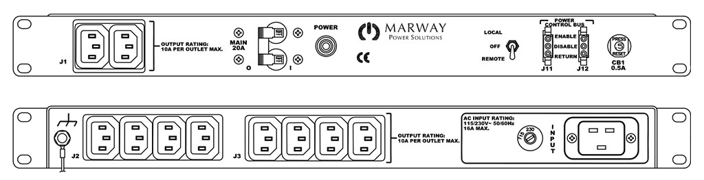 Product layout of front and back panels for Marway's MPD-100RIEC-005 Optima PDU.