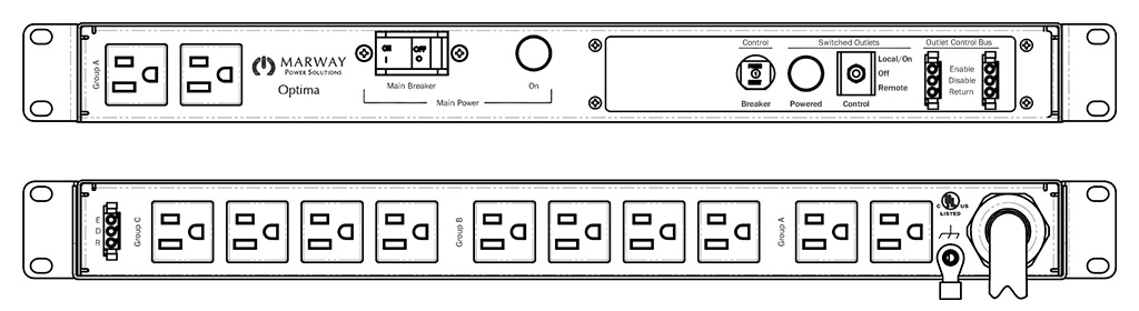 Product layout of front and back panels for Marway's MPD-520066-000 Optima PDU.