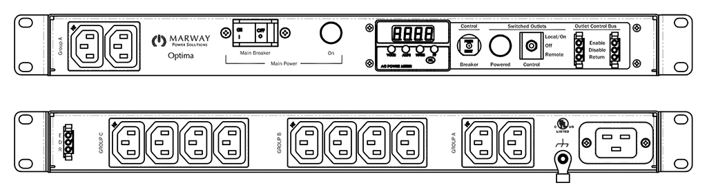 Product layout of front and back panels for Marway's MPD-520056-000 Optima PDU.