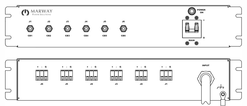 Product layout of front and back panels for Marway's MPD-41620-180 Optima PDU.