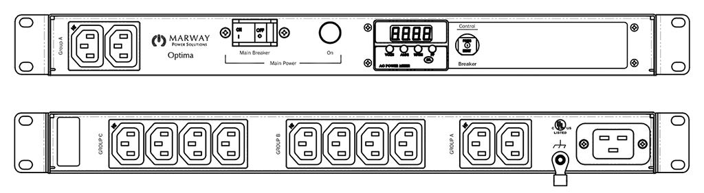 Product layout of front and back panels for Marway's MPD-520055-000 Optima PDU.