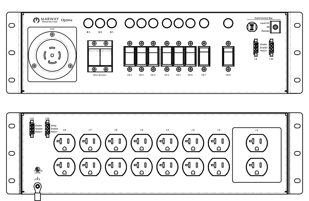 Product layout of front and back panels for Marway's MPD-533005-000 Optima PDU.