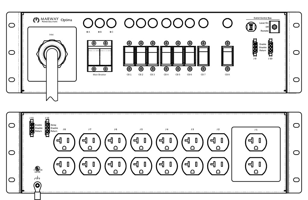 Product layout of front and back panels for Marway's MPD-533000-000 Optima PDU.